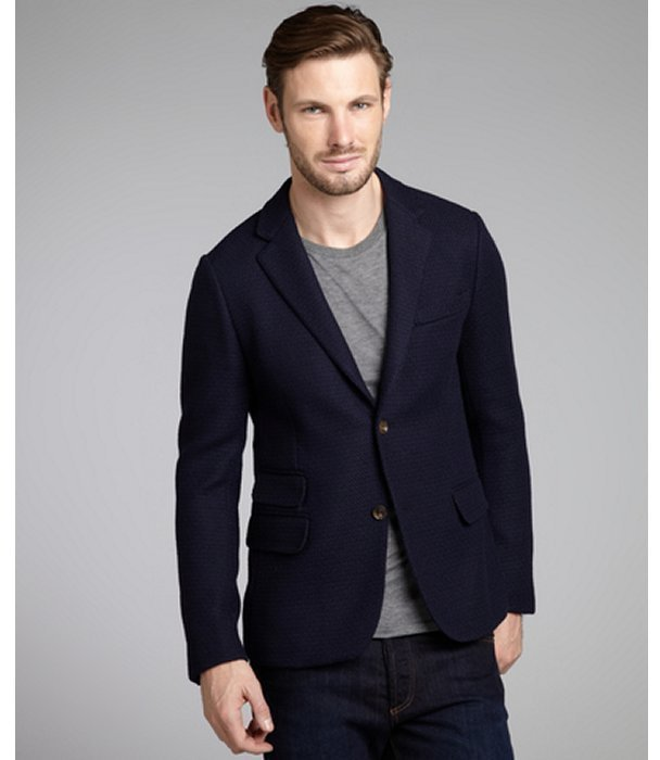 Gucci Navy Textured Wool Two Button Blazer