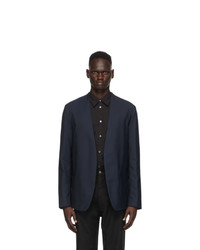 Maison Margiela Navy Wool Collarless Blazer