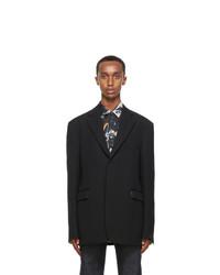Raf Simons Navy Wool Straight Fit Blazer