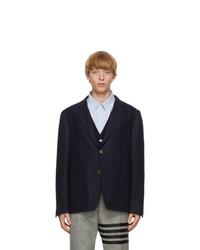 Thom Browne Navy Wool Unconstructed Blazer