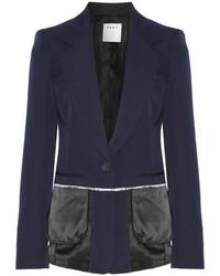 DKNY Satin Trimmed Wool Twill Blazer Midnight Blue