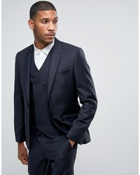 Asos Skinny Suit Jacket In 100% Wool In Navy