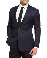 Giorgio Armani Soft Basic Wool Two Button Sport Coat Navy