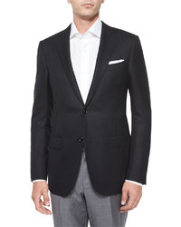 Ermenegildo Zegna Textured Two Button Blazer Black