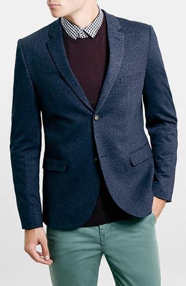 Topman Navy Jersey Slim Fit Blazer | Where to buy u0026 how to wear