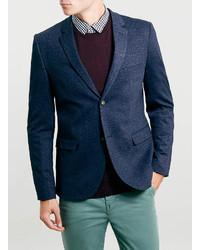 Topman Navy Light Weight Jersey Blazer