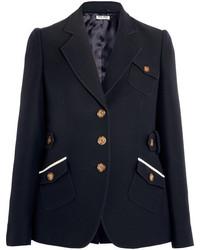 Miu Miu Wool And Silk Blend Blazer Navy