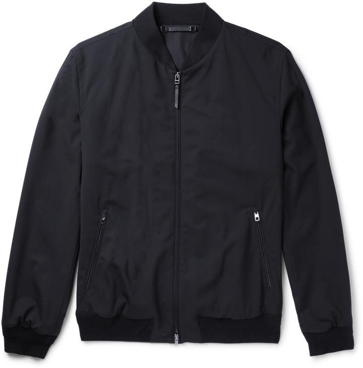 2a5baf6a $997, Ermenegildo Zegna Leather Trimmed Trofeo Wool Bomber Jacket