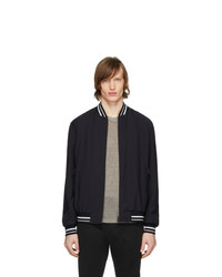 Z Zegna Navy Tech Stripes Bomber Jacket