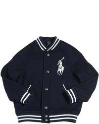 Ralph Lauren Logo Patch Felt Wool Bomber Jacket