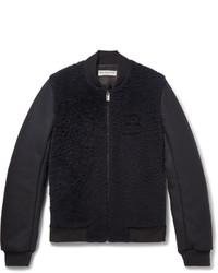 Balenciaga Shearling Panelled Wool Blend Bomber Jacket