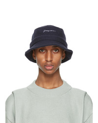 Jacquemus Navy Wool Le Bob Bucket Hat
