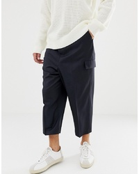 Navy Wool Cargo Pants