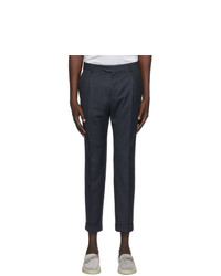Z Zegna Navy One Pleat Trousers