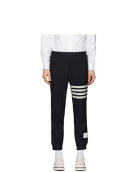 Thom Browne Navy Snap Front Track Trousers