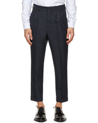 AMI Alexandre Mattiussi Navy Tropical Wool Carrot Fit Trousers