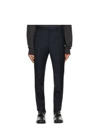 Maison Margiela Navy Wool And Mohair Gabardine Trousers