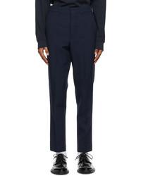 AMI Alexandre Mattiussi Navy Wool Carrot Fit Trousers