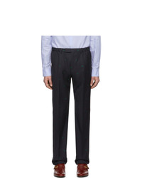 Gucci Navy Wool Jacquard Symbols Trousers