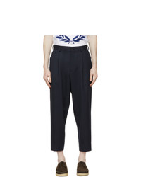 Comme des Garcons Homme Deux Navy Wool Pleated Trousers