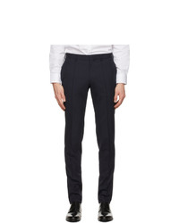 Z Zegna Navy Wool Slim Trousers