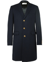 Saint Laurent Slim Fit Wool And Silk Blend Twill Coat