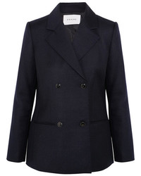 Frame Double Breasted Wool Blazer Navy