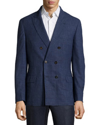 Brunello Cucinelli Double Breasted Wool Jacket Blue