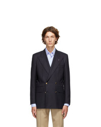 Husbands Navy Twill Double Breasted Blazer