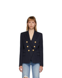Balmain Navy Wool Double Breasted Blazer