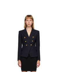 Balmain Navy Wool Serge 6 Button Blazer