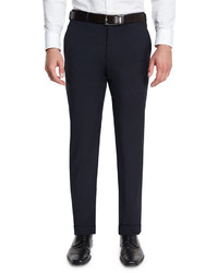 Basic flat front wool trousers navy medium 615032