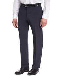Giorgio Armani Basic Wool Flat Front Trousers Navy Blue