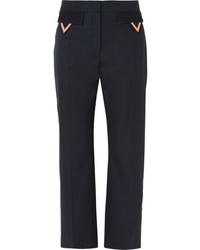 Valentino Cropped Wool Gabardine Straight Leg Pants