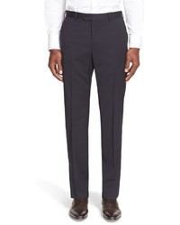 Armani Collezioni Flat Front Solid Wool Trousers