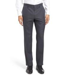 BOSS Giro Flat Front Solid Wool Blend Trousers