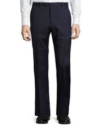 Armani Collezioni Micro Textured Wool Trousers Navy
