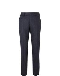 Hugo Boss Navy Slim Fit Tapered Virgin Wool Blend Tweed Trousers