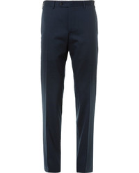 Canali Navy Valencia Slim Fit Stretch Wool Travel Suit Trousers
