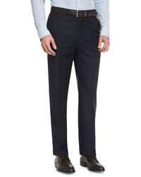 Phi flat front wool trousers navy medium 655154