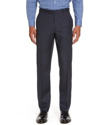 Nordstrom Shop Flat Front Solid Wool Trousers