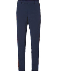 Gucci Slim Fit Velvet Trimmed Wool Trousers