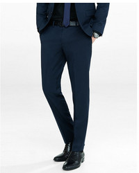 Express Slim Navy Wool Blend Twill Suit Pant