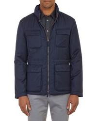 Armani Collezioni Cashmere Blend Field Jacket Blue
