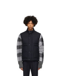 Thom Browne Navy Down Super 120s Snap Front Vest