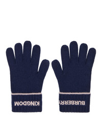 Burberry Navy Cashmere Logo And Kingdom Gloves