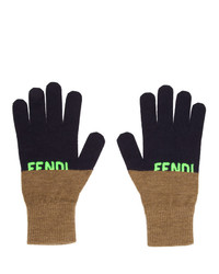 Fendi Navy Logo Gloves