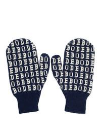 Bode Navy Signature Mittens