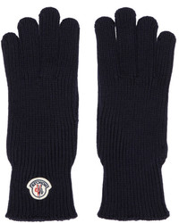 Moncler Navy Wool Logo Gloves