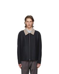 Harris Wharf London Navy Pressed Wool Boucle Golf Jacket